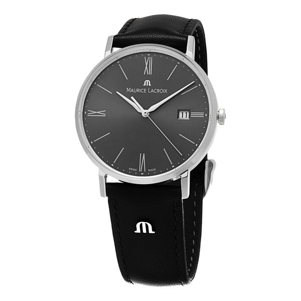 Maurice Lacroix Men's EL1087-SS001-810 'Eliros' Grey Dial Black Leather Strap Watch