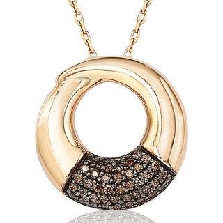 Suzy Levian Cubic Zirconia Sterling Silver Circle Loop Pendant Necklace
