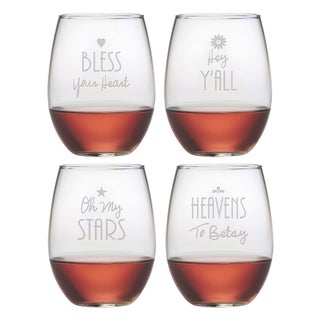 Southern Sayings Stemless Wine Glass (Set of 4)
