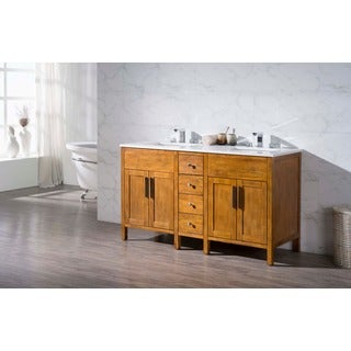 Stufurhome Evangeline 59 Inch Double Sink Bathroom Vanity