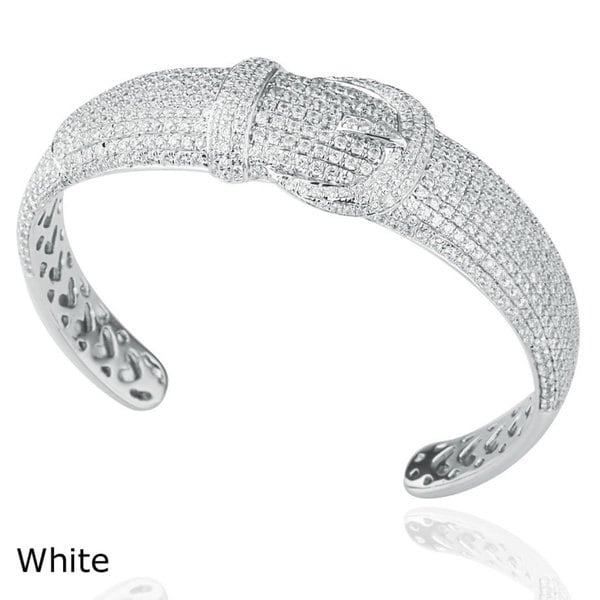 Suzy Levian Pave Cubic Zirconia Sterling Silver Pave Bangle