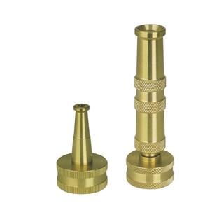 Sun Joe Ultimate Solid Brass, Heavy Duty Adjustable Twist Hose Nozzle and Bonus Jet Sweeper Nozzle - SJI-4BHNC