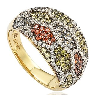 Suzy Levian Sterling Silver Pave Multi-Color Cubic Zirconia Ring