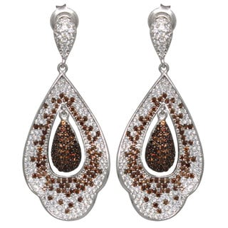 Suzy Levian Cubic Zirconia Sterling Silver White & Chocolate Dangle Earrings