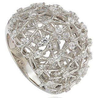 Suzy Levian Pave Cubic Zirconia Sterling Silver Ring