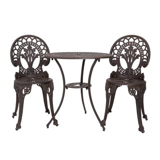 Somette Majestic Crest Walnut Cast Aluminum Outdoor 3-Piece Bistro Set