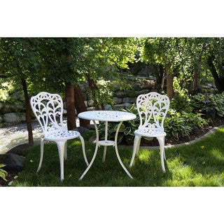 Somette Blossom White Cast Aluminum Outdoor 3-Piece Bistro Set