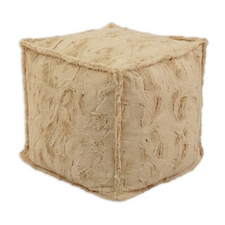 Luxe Camel 17-inch Square Beads Hassock