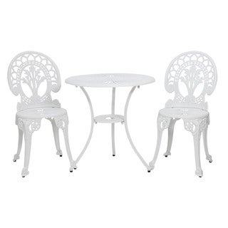 Somette Majestic Crest White Cast Aluminum Outdoor 3-Piece Bistro Set