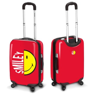 Smiley Face Red 30-inch Hardside Spinner Upright Suitcase