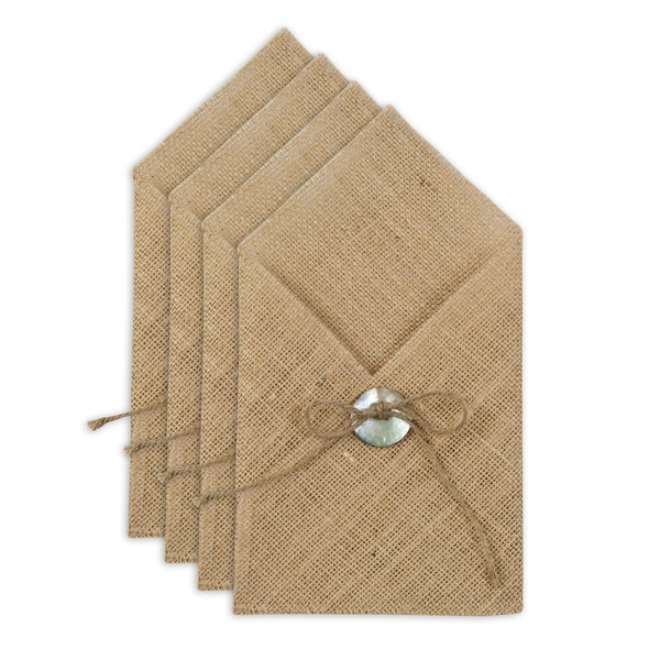 Burlap Natural Table Setting with Hemp Tied Mother of Pearl Button (Set of 4) 15918031