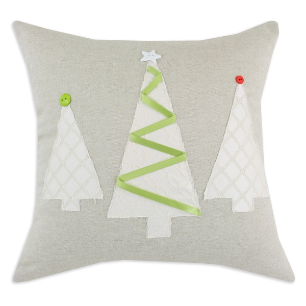 Linen Natural W-3 Brushed Trees and Burlap Ribbon 17-inch Pillow