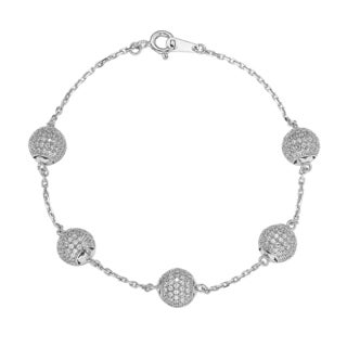 Suzy Levian Sterling Silver Cubic Zirconia Pave Ball Linked Bracelet