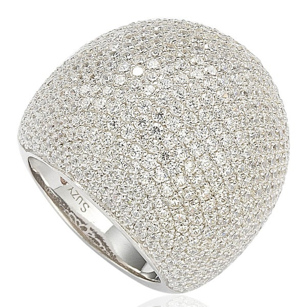 Suzy Levian Sterling Silver Cubic Zirconia Oversized Pave Ring