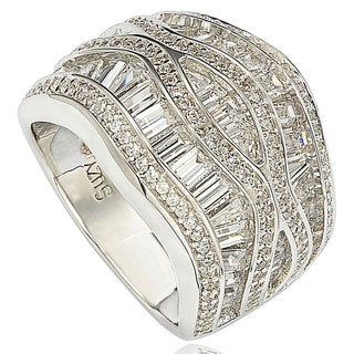 Suzy Levian Pave Cubic Zirconia Sterling Silver Crisscross Ring