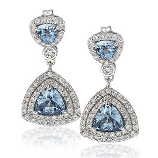 Suzy Levian Sterling Silver Cubic Zirconia Trillion Dangle Earrings