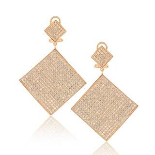 Suzy Levian Rosed Sterling Silver Cubic Zirconia Flat Pave Diamond-Shape Earrings
