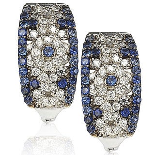 Suzy Levian 1.52CT Sapphire and Diamond in Sterling Silver and 18K Abstract Gold Earring