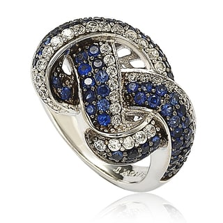 Suzy Levian Sapphire and Diamond in Sterling Silver and 18K Gold Love Knot Ring