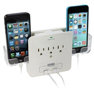 iPanda Wall Mount Power Surge Protector With 3 AC Outlet Plug & 2 USB Charging Ports
