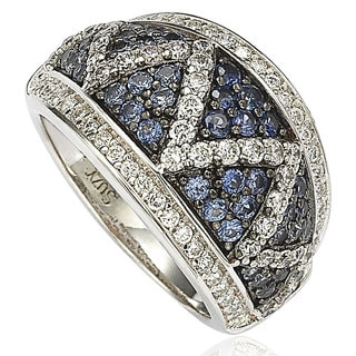 Suzy Levian Sterling Silver and 18K Gold Sapphire and Diamond Pave Zig Zag Ring