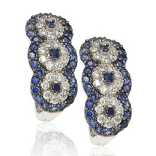 Suzy Levian Sapphire and Diamond in Sterling Silver and 18K Gold Earrings