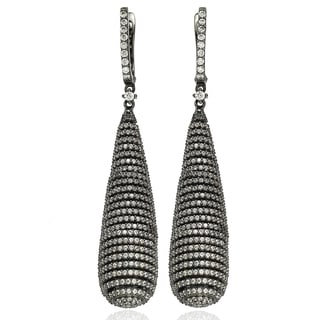 Suzy Levian Blackened Sterling Silver Cubic Zirconia Earrings