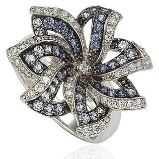 Suzy Levian Sapphire and Diamond in Sterling Silver and 18K Gold Flower Ring