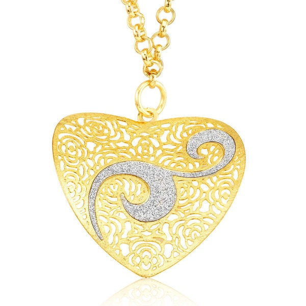 Goldplated Silver Glitter Filligree Abstract Heart Necklace