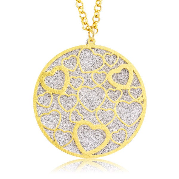 Goldplated Silver Glitter Circle of Hearts Necklace