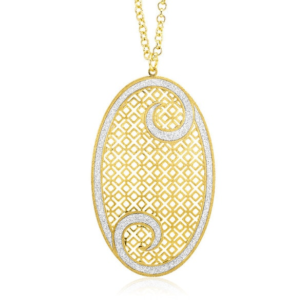Goldplated Silver Glitter Filligree Swirl Oval Necklace