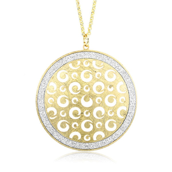 Goldplated Silver Glitter Filligree Circle Necklace