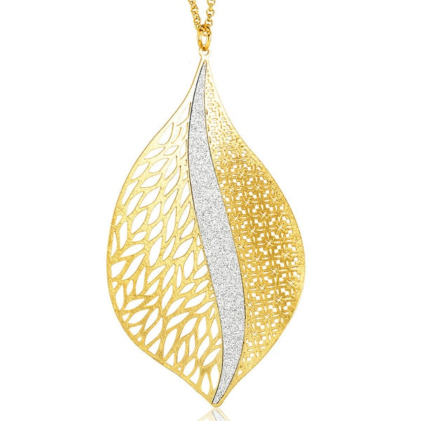 Goldplated Silver Glitter Filligree Leaf Necklace