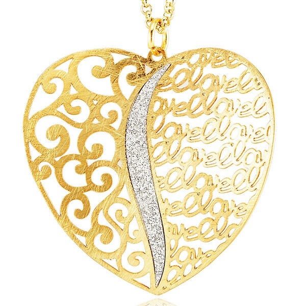 Goldplated Silver Glitter Filligree Heart Love Necklace