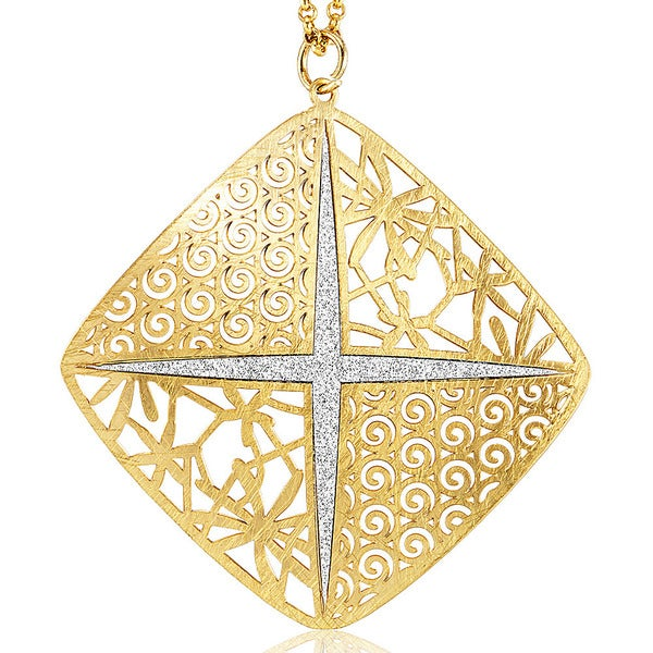 Goldplated Silver Glitter Filligree Square Necklace