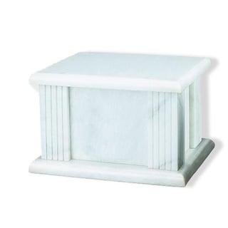 Elegante Genuine Marble White Grain Cremation Urn