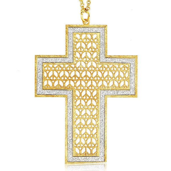 Goldplated Silver Glitter Cross Necklace