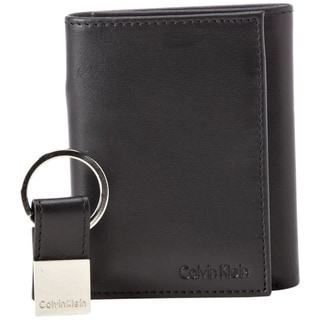Calvin Klein Men's Leather Trifold Wallet With Key Fob