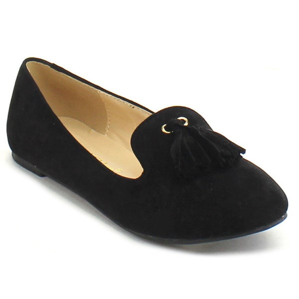Chase and Chloe Jersey-2 Women's Round Toe Loafer Style Tassel Ballet Flats