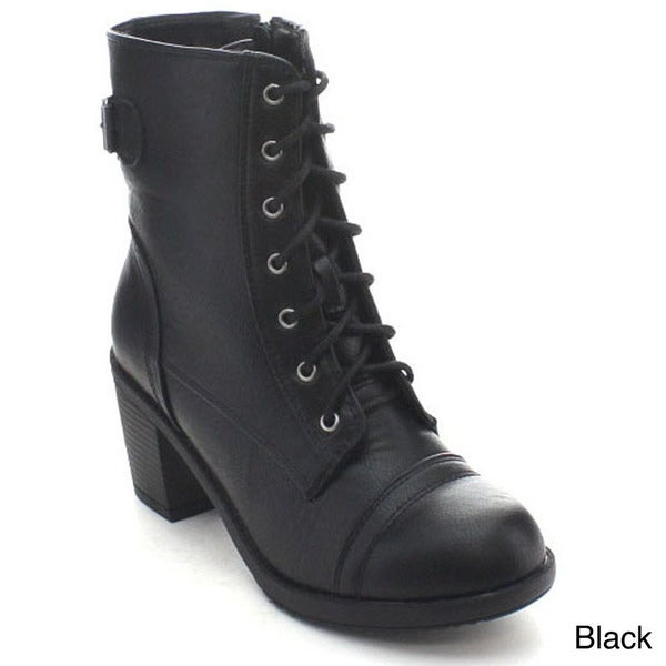 Wild Diva Essence-11 Women's Buckle Lace-up Stacked Chunky Heel Mid Calf Boots