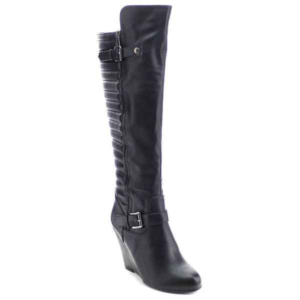 Nature Breeze Bella-04 Women's Stylish Ankle Strap Side Zip Knee High Wedge Boot