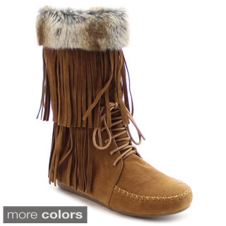 Nature Breeze Cherokee-12 Women's Faux Fur Lace-up Fringe Moccasin Mid-calf Boot