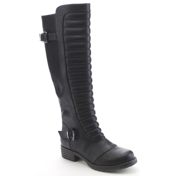 Nature Breeze Corey-01 Womens Buckle Trim Side Zip Ribbed Knee High Riding Boots