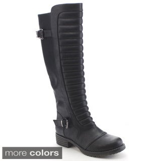 Nature Breeze Corey-01 Women's Buckle Trim Side Zip Ribbed Knee High Riding Boots