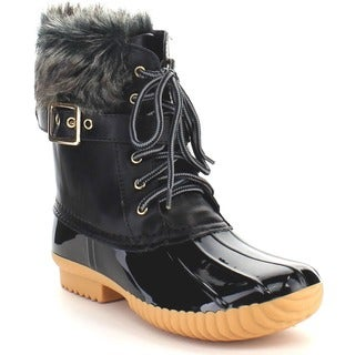 Nature Breeze Duck-01 Women's Chic Lace-up Buckled Duck Waterproof Snow Boots