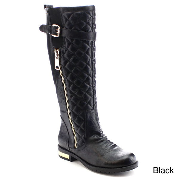 Nature Breeze Goldcoast-02 Women Quilt Buckle Strap Side Zip Stretch Riding Boot