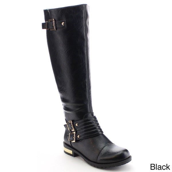 Nature Breeze Goldcoast-03 Women's Cap Toe Buckle Detail Side Zip Knee High Boot