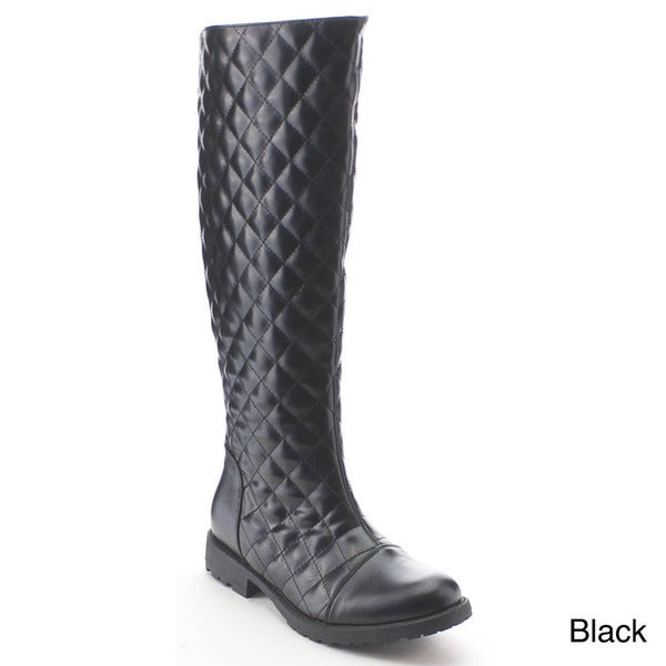 Nature Breeze Kimo-01 Womens Fashionable V Opening Quilt Side Zip Knee High Boot