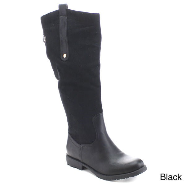 Nature Breeze Kimo-03 Women's Side Zipper Pull-on Knee High Riding Boots