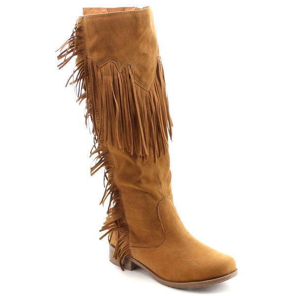 Nature Breeze Women's Fringe Side Zip Knee High Boots Size 8.5 in Tan (As Is Item)